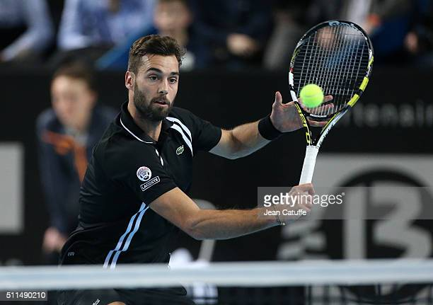 Benoit Paire of France in action during his quarterfinal at the Open 13 an ATP Tour 250 tournament at Palais des Sports on February 19 2016 in...