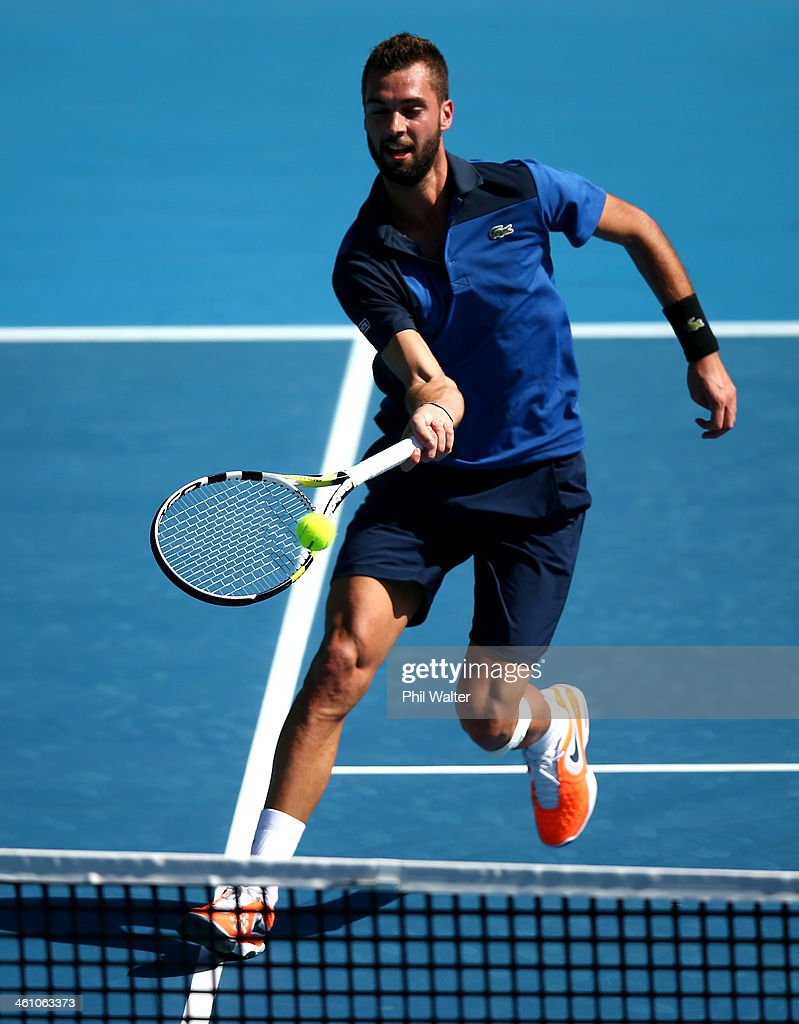 <a gi-track='captionPersonalityLinkClicked' href=/galleries/search?phrase=Benoit+Paire&family=editorial&specificpeople=6999938 ng-click='$event.stopPropagation()'>Benoit Paire</a> of France plays a forehand during his first round match against Michal Przysiezny of Poland during day two of the Heineken Open at the ASB Tennis Centre on January 7, 2014 in Auckland, New Zealand.
