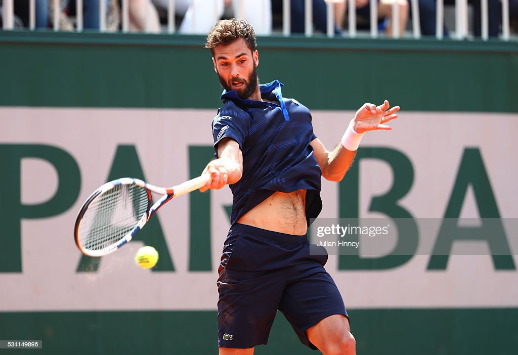 <a gi-track='captionPersonalityLinkClicked' href=/galleries/search?phrase=Benoit+Paire&family=editorial&specificpeople=6999938 ng-click='$event.stopPropagation()'>Benoit Paire</a> of France plays a forehand during the Men's Singles second round match against Teymuraz Gabashvili of Russia on day four of the 2016 French Open at Roland Garros on May 25, 2016 in Paris, France.