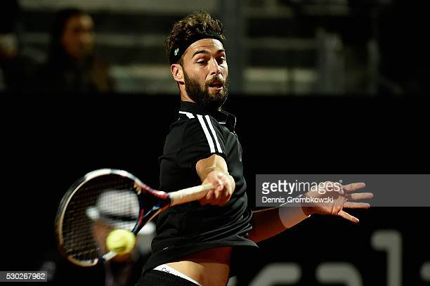 Benoit Paire of France plays a forehand in his match against Stanislas Wawrinka of Switzerland on Day Three of The Internazionali BNL d'Italia 2016...