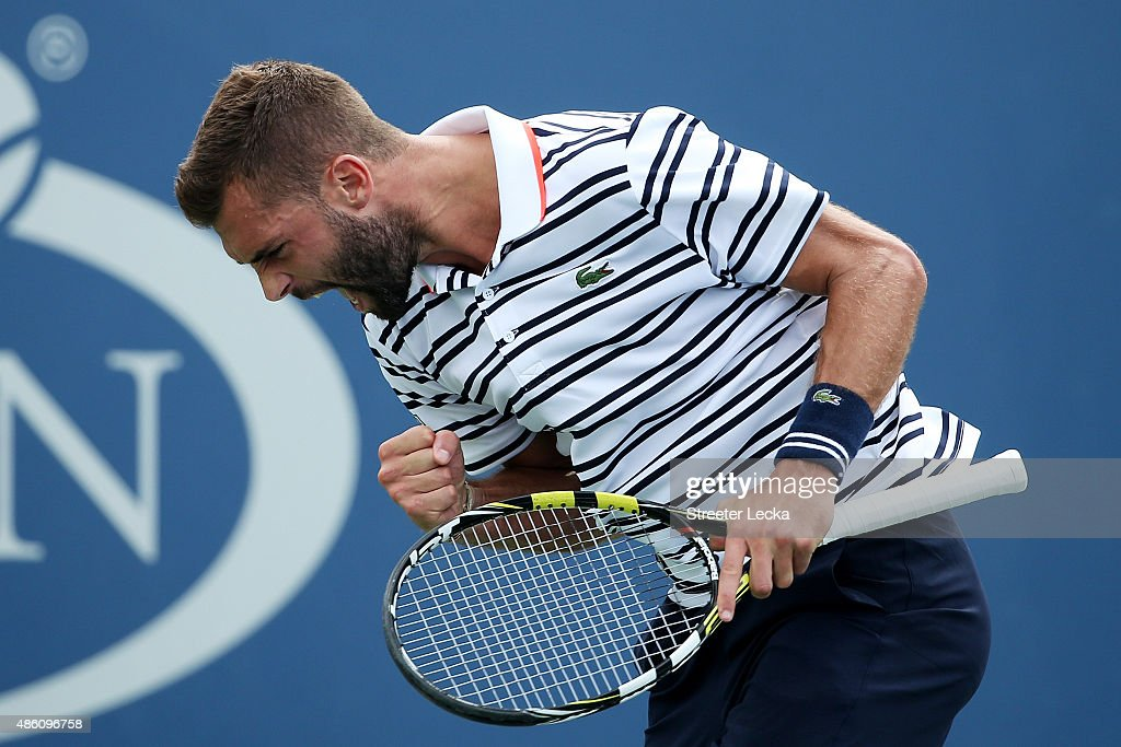 <a gi-track='captionPersonalityLinkClicked' href=/galleries/search?phrase=Benoit+Paire&family=editorial&specificpeople=6999938 ng-click='$event.stopPropagation()'>Benoit Paire</a> of France reacts against Kei Nishikori of Japan during their Men's Single First Round match on Day One of the 2015 US Open at the USTA Billie Jean King National Tennis Center on August 31, 2015 in the Flushing neighborhood of the Queens borough of New York City.