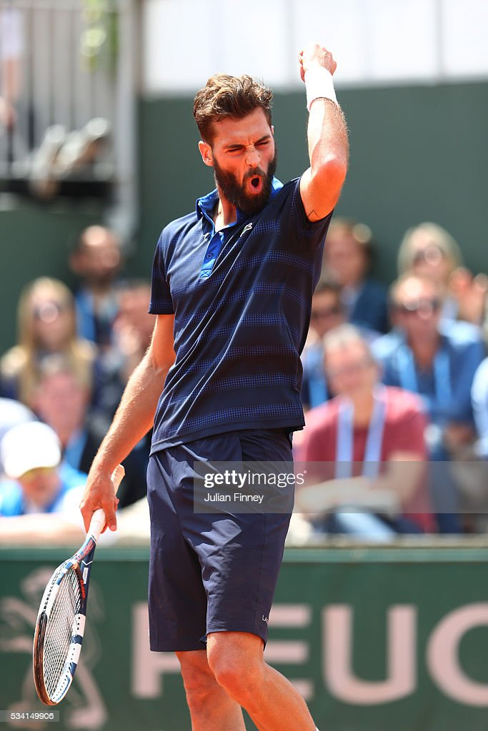 <a gi-track='captionPersonalityLinkClicked' href=/galleries/search?phrase=Benoit+Paire&family=editorial&specificpeople=6999938 ng-click='$event.stopPropagation()'>Benoit Paire</a> of France reacts during the Men's Singles second round match against Teymuraz Gabashvili of Russia on day four of the 2016 French Open at Roland Garros on May 25, 2016 in Paris, France.