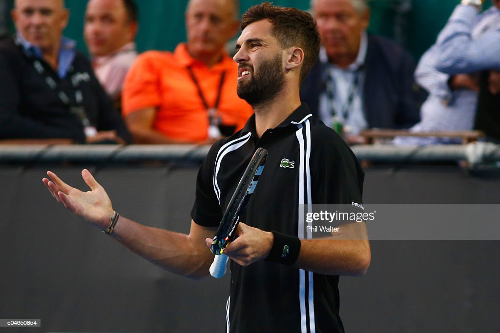 <a gi-track='captionPersonalityLinkClicked' href=/galleries/search?phrase=Benoit+Paire&family=editorial&specificpeople=6999938 ng-click='$event.stopPropagation()'>Benoit Paire</a> of France reacts in his singles match against Michael Venus of New Zealand on Day 8 of the ASB Classic on January 12, 2016 in Auckland, New Zealand.