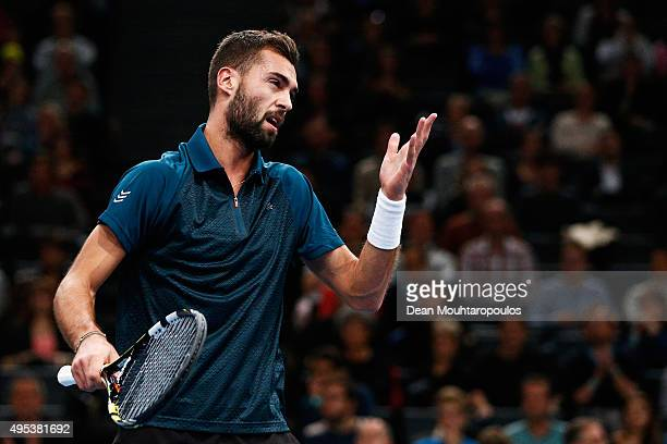 Benoit Paire of France reacts to a missed point against Gael Monfils of France during Day 1 of the BNP Paribas Masters held at AccorHotels Arena on...