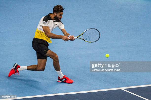 Benoit Paire of France returns a shot against Steve Darcis of Belgium during the Men's singles 16th finals match of the European Open at Lotto Arena...