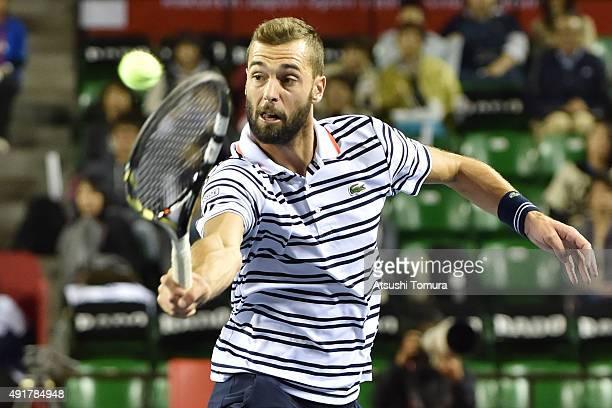 Benoit Paire of France returns a shot during the men's singles match against Marcos Baghdatis of Cyprus on day four of Rakuten Open 2015 at Ariake...