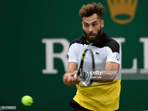 Benoit Paire of France returns a shot to David Goffin of Belgium in the men's singles second round match during Day 4 of the ATP Shanghai Rolex...