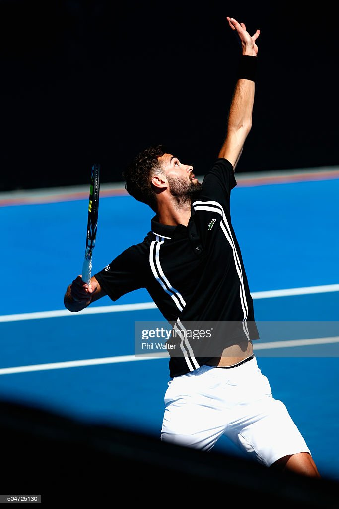 <a gi-track='captionPersonalityLinkClicked' href=/galleries/search?phrase=Benoit+Paire&family=editorial&specificpeople=6999938 ng-click='$event.stopPropagation()'>Benoit Paire</a> of France serves against Lukas Rosol of the Czech Republic on Day 3 of the ASB Classic on January 13, 2016 in Auckland, New Zealand.