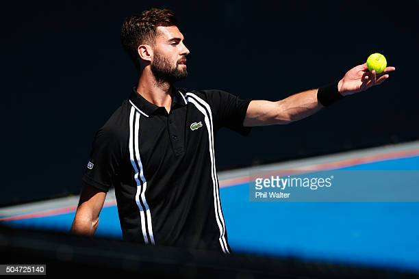 Benoit Paire of France serves against Lukas Rosol of the Czech Republic on Day 3 of the ASB Classic on January 13 2016 in Auckland New Zealand