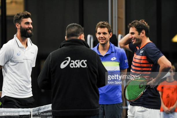 Benoit Paire Paul Henri Mathieu and Malek Jaziri during the French Team Championships match between Boulogne Billancourt and Colomiers on November 15...