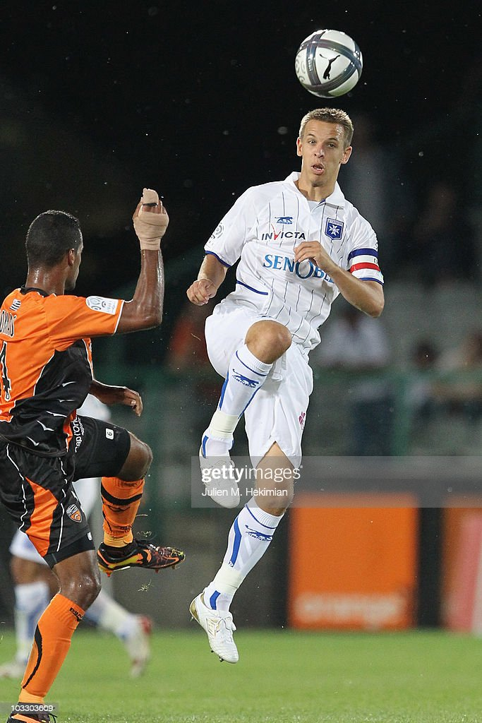 <a gi-track='captionPersonalityLinkClicked' href=/galleries/search?phrase=Benoit+Pedretti&family=editorial&specificpeople=714997 ng-click='$event.stopPropagation()'>Benoit Pedretti</a> of Auxerre in action during the Ligue 1 match between Auxerre and Lorient at Abbe-Deschamp Stadium on August 7, 2010 in Auxerre, France.