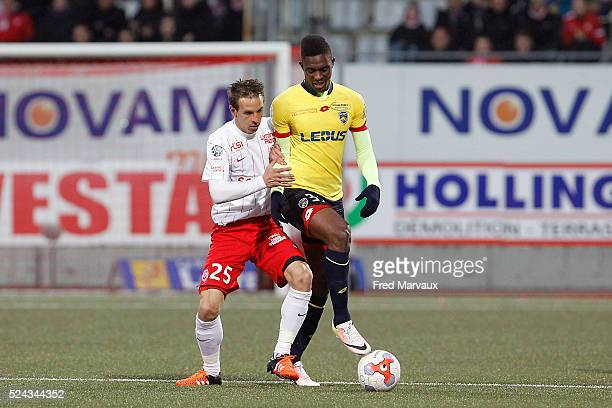 Benoit Pedretti of Nancy and Hadi Sacko of Sochaux during the french ligue 2 match between As Nancy Lorraine and Fc Sochaux on April 25 2016 in Nancy...