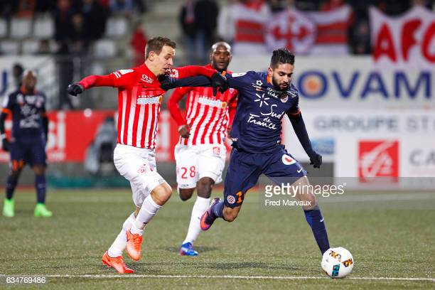 Benoit Pedretti of Nancy and Ryad Boudebouz of Montpellier during the Ligue 1 match between As Nancy Lorraine and Montpellier Herault at Stade Marcel...