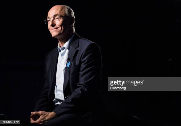 Benoit Potier chief executive officer of Air Liquide SA reacts during a Bloomberg Television interview at the BPI France forum in Paris France on...
