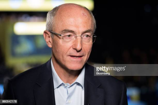 Benoit Potier chief executive officer of Air Liquide SA speaks during a Bloomberg Television interview at the BPI France forum in Paris France on...
