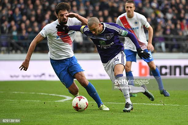 Benoit Poulain defender of Club Brugge and Sofiane Hanni midfielder of RSC Anderlecht during the Jupiler Pro League match between Club Brugge KV and...