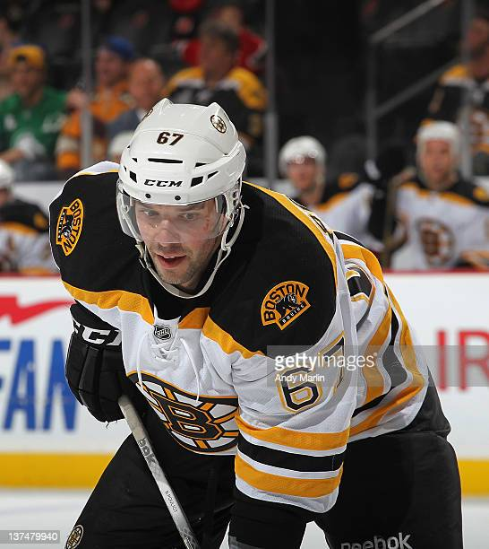 Benoit Pouliot of the Boston Bruins looks on against the New Jersey Devils during the game at the Prudential Center on January 19 2012 in Newark New...