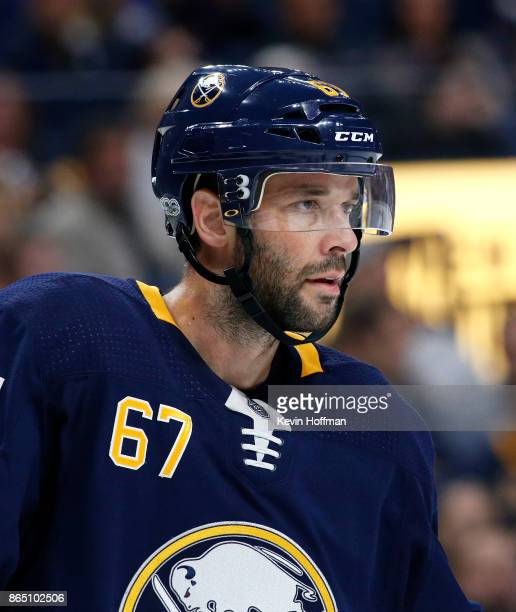 Benoit Pouliot of the Buffalo Sabres during the game against the Vancouver Canucks at the KeyBank Center on October 20 2017 in Buffalo New York