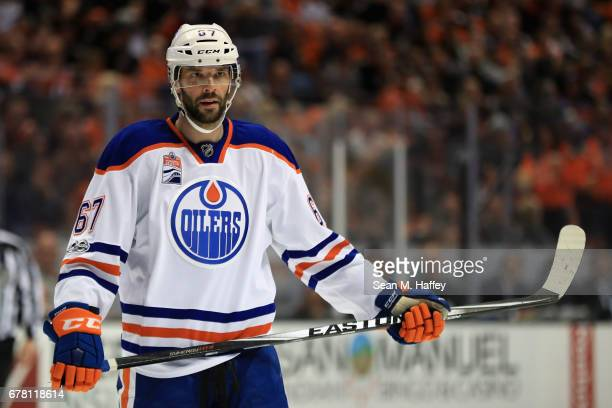 Benoit Pouliot of the Edmonton Oilers looks on during the second period of Game Two of the Western Conference Second Round during the 2017 NHL...