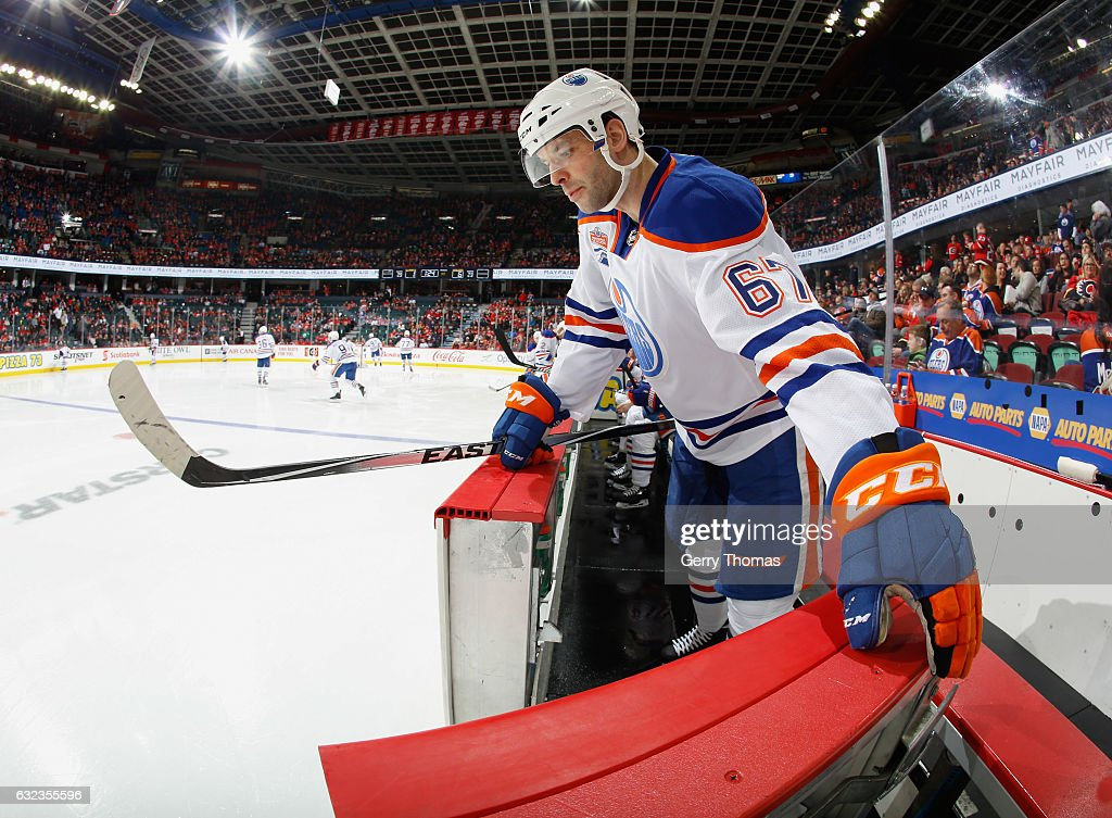 Benoit Pouliot #67 of the Edmonton Oilers mans the gate against the Calgary Flames at Scotiabank Saddledome on January 21, 2017 in Calgary, Alberta, Canada.