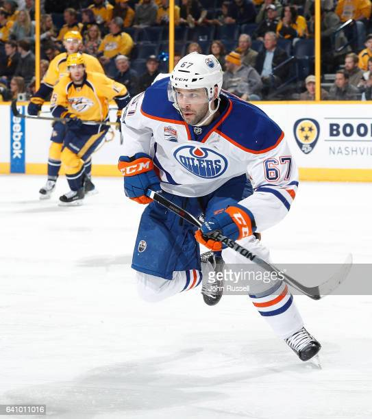 Benoit Pouliot of the Edmonton Oilers skates against the Nashville Predators during an NHL game at Bridgestone Arena on February 2 2017 in Nashville...