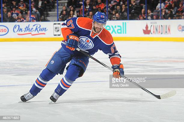 Benoit Pouliot of the Edmonton Oilers skates on the ice during the game against the Florida Panthers on January 11 2015 at Rexall Place in Edmonton...