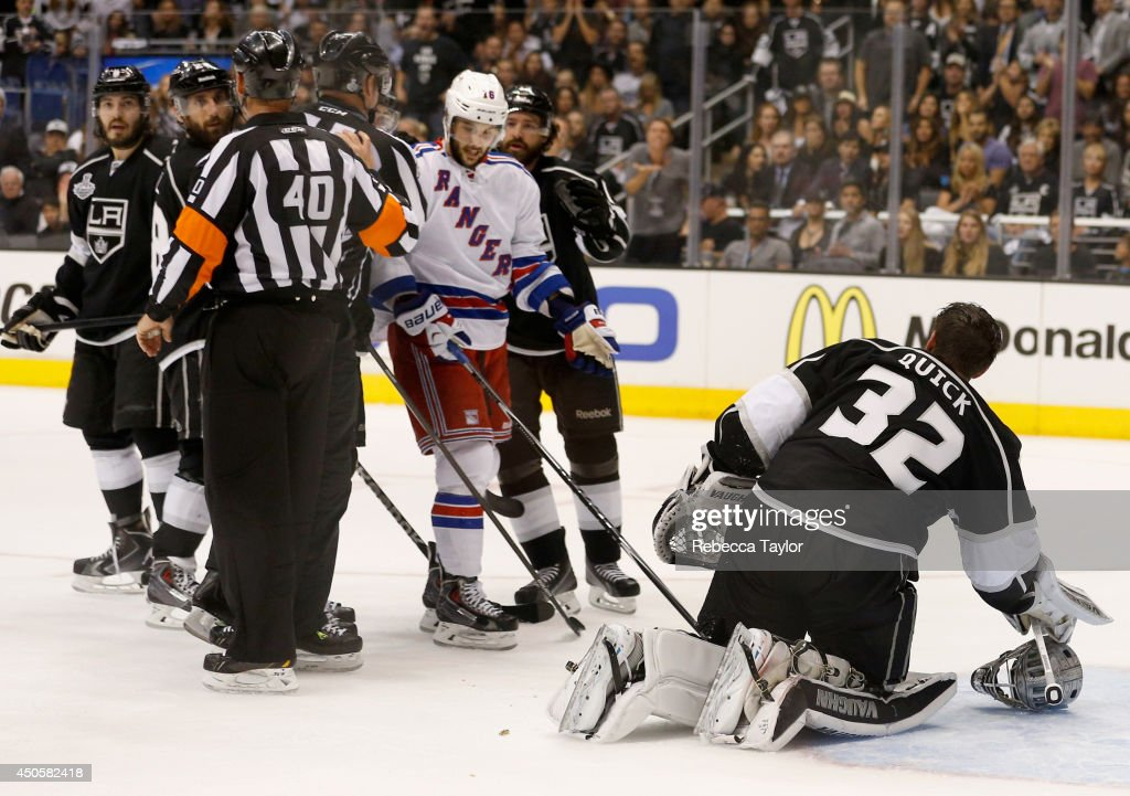 Benoit Pouliot of the New York Rangers is called for goaltender interference on Jonathan Quick of the Los Angeles Kings in the first period Game Five...
