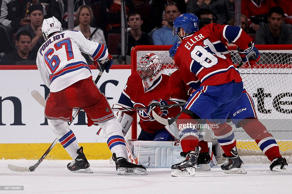 Benoit Pouliot #67 of the New York Rangers looks to shoot on goaltender Carey Price #31 of the Montreal Canadiens in the first period in Game One of the Eastern Conference Finals of the 2014 NHL Stanley Cup Playoffs at the Bell Centre on May 17, 2014 in Montreal, Canada.