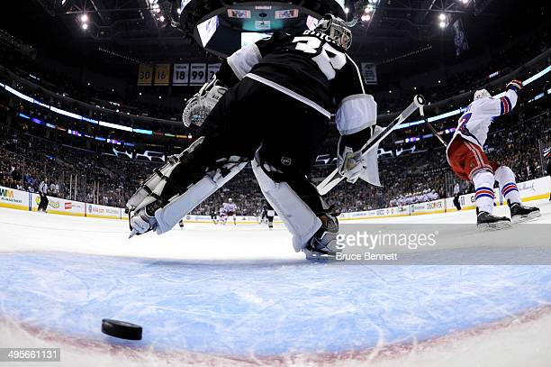 Benoit Pouliot of the New York Rangers scores a first period goal against goaltender Jonathan Quick of the Los Angeles Kings in the first period...