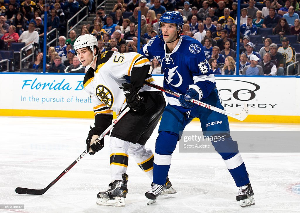<a gi-track='captionPersonalityLinkClicked' href=/galleries/search?phrase=Benoit+Pouliot&family=editorial&specificpeople=879830 ng-click='$event.stopPropagation()'>Benoit Pouliot</a> #67 of the Tampa Bay Lightning and <a gi-track='captionPersonalityLinkClicked' href=/galleries/search?phrase=Adam+McQuaid&family=editorial&specificpeople=2238883 ng-click='$event.stopPropagation()'>Adam McQuaid</a> #54 of the Boston Bruins watch a play during the third period of the game at the Tampa Bay Times Forum on February 21, 2013 in Tampa, Florida.
