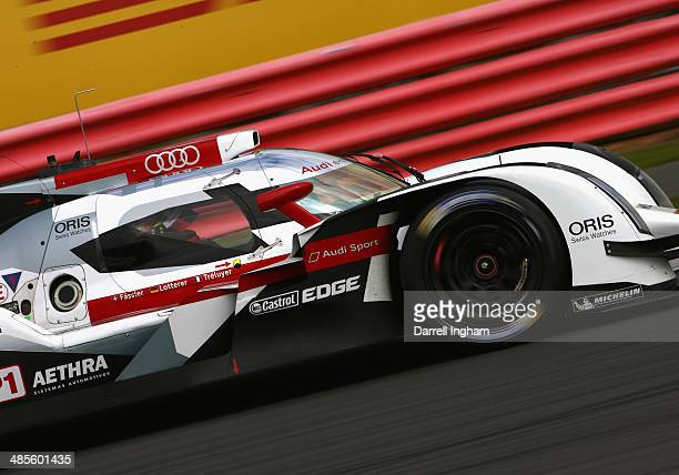 Benoit Treluyer of France drives the Audi Sport Team Joest Audi R18 etron quattro LMP1 during practice for the FIA World Endurance Championship 6...