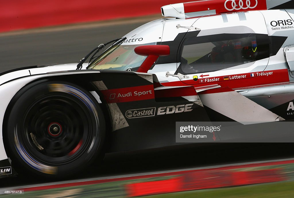 Benoit Treluyer of France drives the #2 Audi Sport Team Joest Audi R18 e-tron quattro LMP1 during the FIA World Endurance Championship 6 Hours of Silverstone sportscar race at the Silverstone Circuit on April 20, 2014 in Northampton, England.