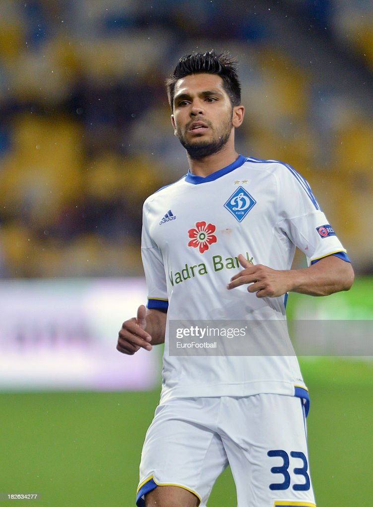 <a gi-track='captionPersonalityLinkClicked' href=/galleries/search?phrase=Benoit+Tremoulinas&family=editorial&specificpeople=4530463 ng-click='$event.stopPropagation()'>Benoit Tremoulinas</a> of FC Dynamo Kyiv in action during the UEFA Europa League group stage match between FC Dynamo Kyiv and KRC Genk held on September 19, 2013 at the Olympic Stadium, in Kiev, Ukraine.