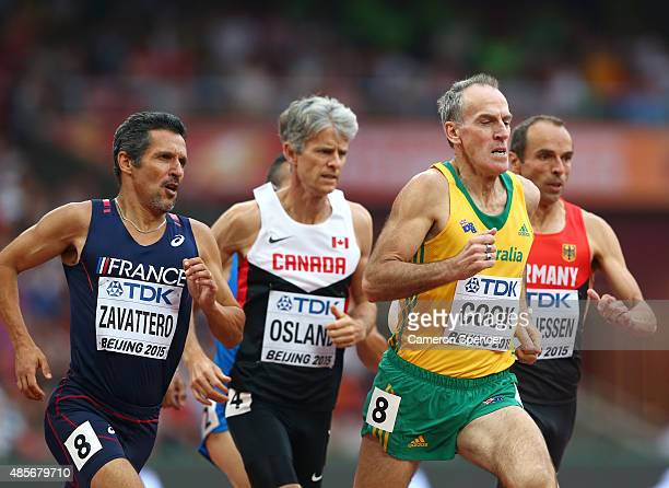 Benoit Zavattero of France and Allan Francis Cook of Australia compete in the Men's 800m Masters final during day eight of the 15th IAAF World...