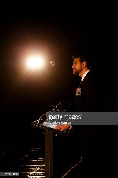 BenRoberts Smith VC makes the commencement address as it rains during the dawn service of the ANZAC day commemoration at the Shrine of Remembrance in...