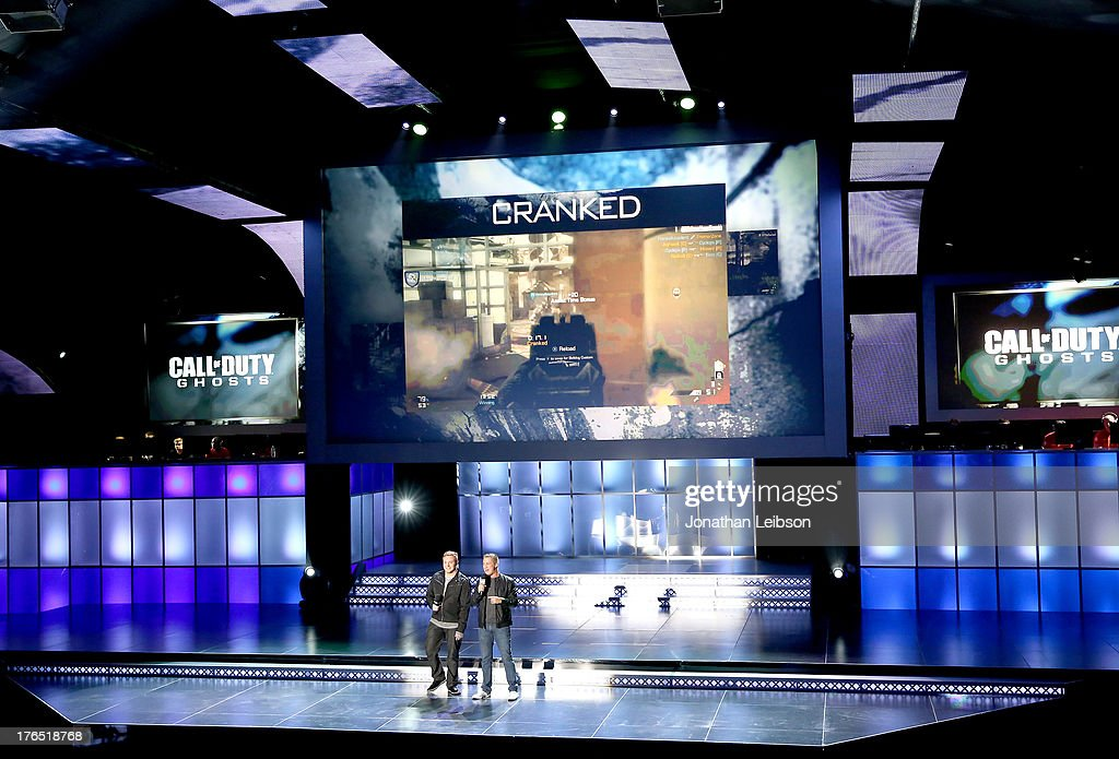 Benson (L) and Fwiz speak onstage during 'Call Of Duty: Ghosts' Multiplayer Global Reveal at LA Live on August 14, 2013 in Los Angeles, California.