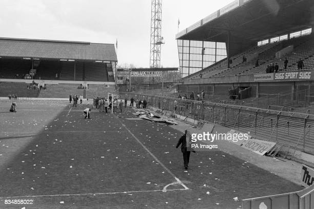 Bent and twisted fencing at Hillsborough in the aftermath of the tragedy More than 90 people died and 170 injured after overcrowding caused a crush...