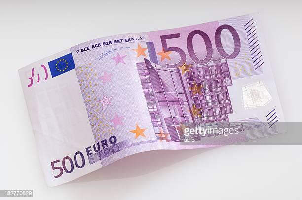Verbogene Fivehundret Euro-banknote