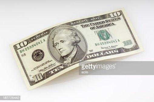 Bent ten dollar bill