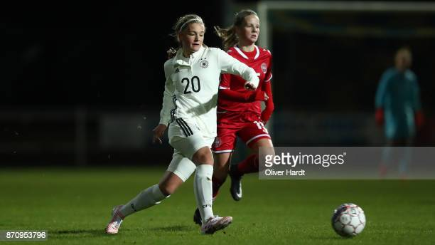 Bente Fischer of Germany and Lea Bjerregrav of Denmark compete for the ball during the U16 Girls international friendly match betwwen Denmark and...