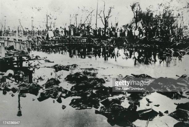 Benten Pond of red light district Yoshiwara is covered by bodies of the victims after the Great Kanto Earthquake in September 1923 in Tokyo Japan The...