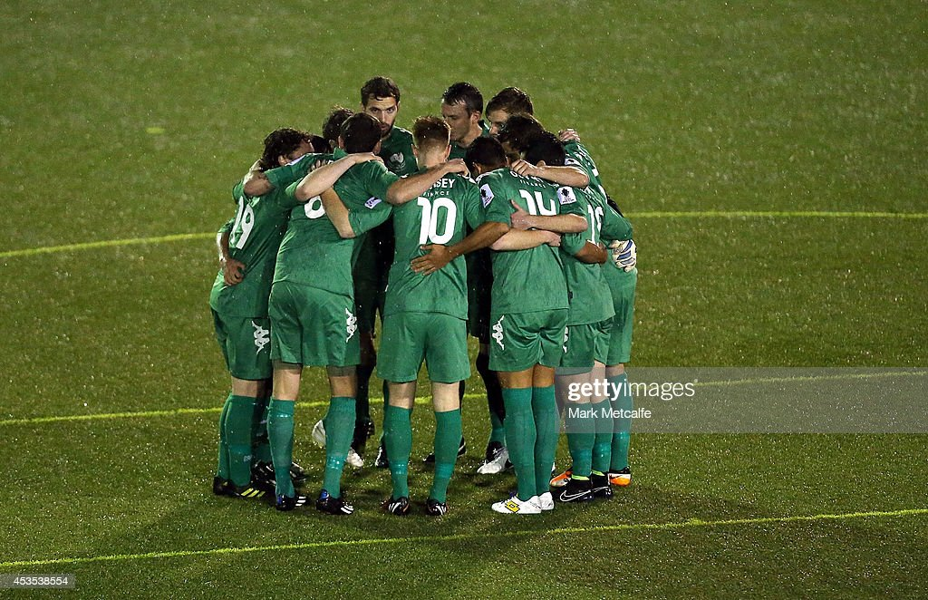Bentleigh Greens huddle before the FFA Cup match between Blacktown City and Bentleigh Greens at Lilys Football Centre on August 12, 2014 in Blacktown, Australia.