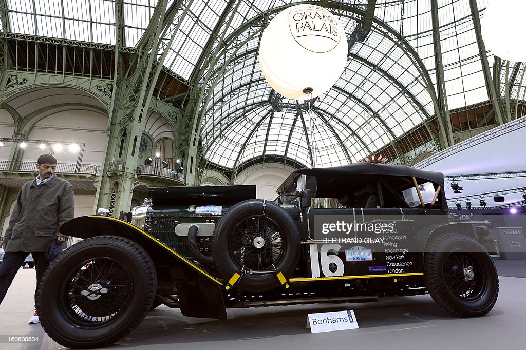 A Bentley 6½-Litre Speed Six tourer (1929) is pictured as luxury vintages cars are displayed at an auction at the Grand Palais on February 6, 2013 in Paris. 125 vintage motor cars, 100 collection motorbikes and a 1920's Gipsy Moth plane by De Havilland, will be presented at the Bonhams auction on February 7.