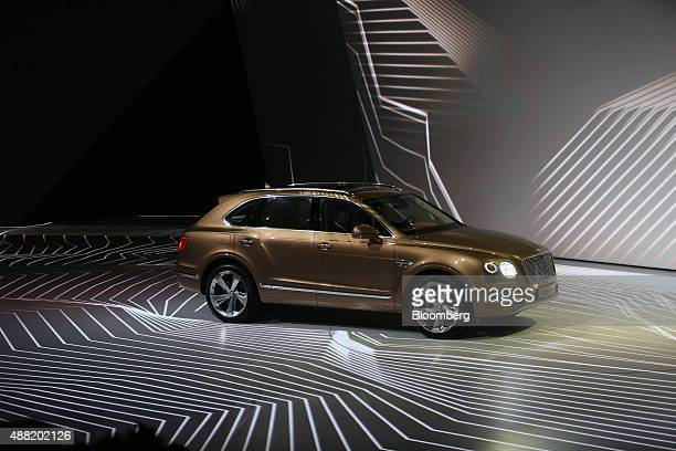 A Bentley Bentayga SUV automobile produced by Bentley Motors Ltd a luxury unit of Volkswagen AG is unveiled during a VW event ahead of the IAA...
