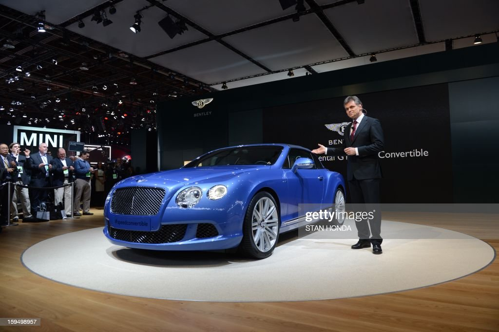 Bentley chairman and CEO Wolfgang Schreiber introduces the Bentley Continental GT Speed Convertible at the 2013 North American International Auto Show in Detroit, Michigan, January 14, 2013. AFP PHOTO/Stan HONDA