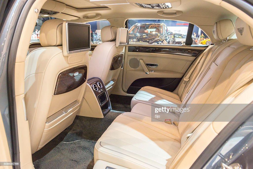 flying spur interior. bentley flying spur v8 luxury sedan interior stock photo