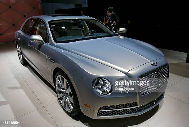 Bentley reveals the Flying Spur W12 to the media at the 2015 North American International Auto Show at Cobo Center on January 12 2015 in Detroit...