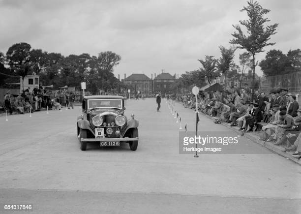 Bentley saloon of JP Agnew competing in the South Wales Auto Club Welsh Rally 1937 Artist Bill Brunell Bentley Saloon 1935 Vehicle Reg No CS1126...
