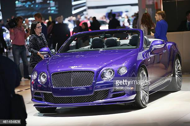 Bentley shows off their GTS Speed convertible at the North American International Auto Show on January 12 2015 in Detroit Michigan The auto show...