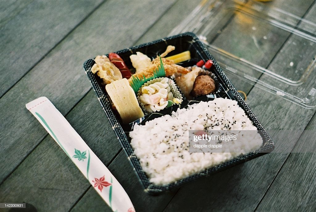Bento box on old wooden table
